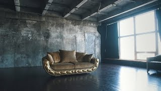 Luxurious Sofa in a Modern Interior In Dark Tones and Shades of Gold | Stock Footage - Videohive