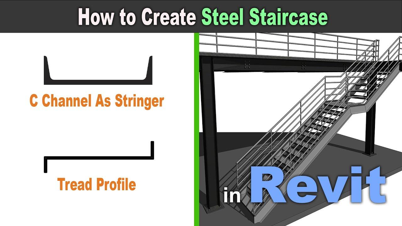 How To Create Steel Stair Case In Revit Revit Tutorial For | Steel Stair Stringer Design | Exterior | Free Standing | Indoor | Modern | Staircase Bar Length