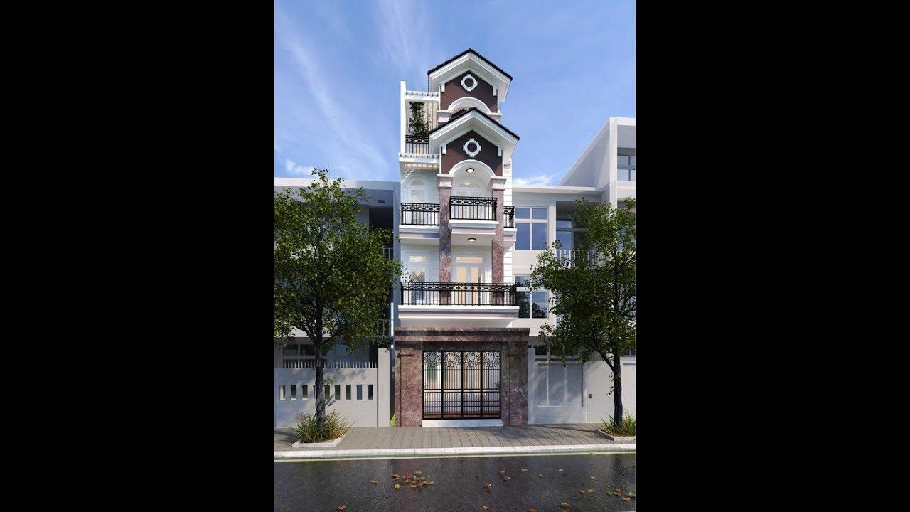 Mẫu thiết kế biệt thự phố 4 tầng kết hợp cổ điển và hiện đại