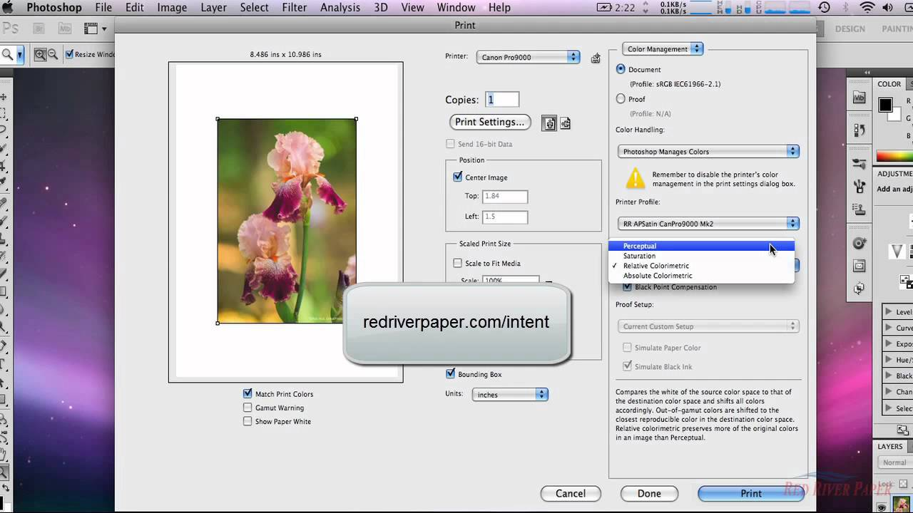Canon / Mac / CS5 - How to use color printer profiles with Mac Photoshop  CS5 using Canon printers