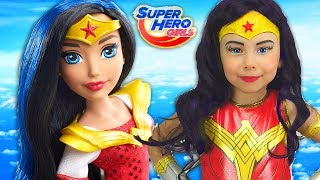 vuclip Super Hero Girls Kids Makeup Alisa Draw a toddler doll with Colors Paints Cosplay for Little Heroes