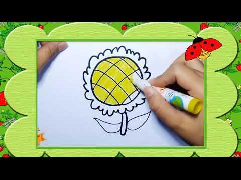 Bé tập vẽ bông hoa