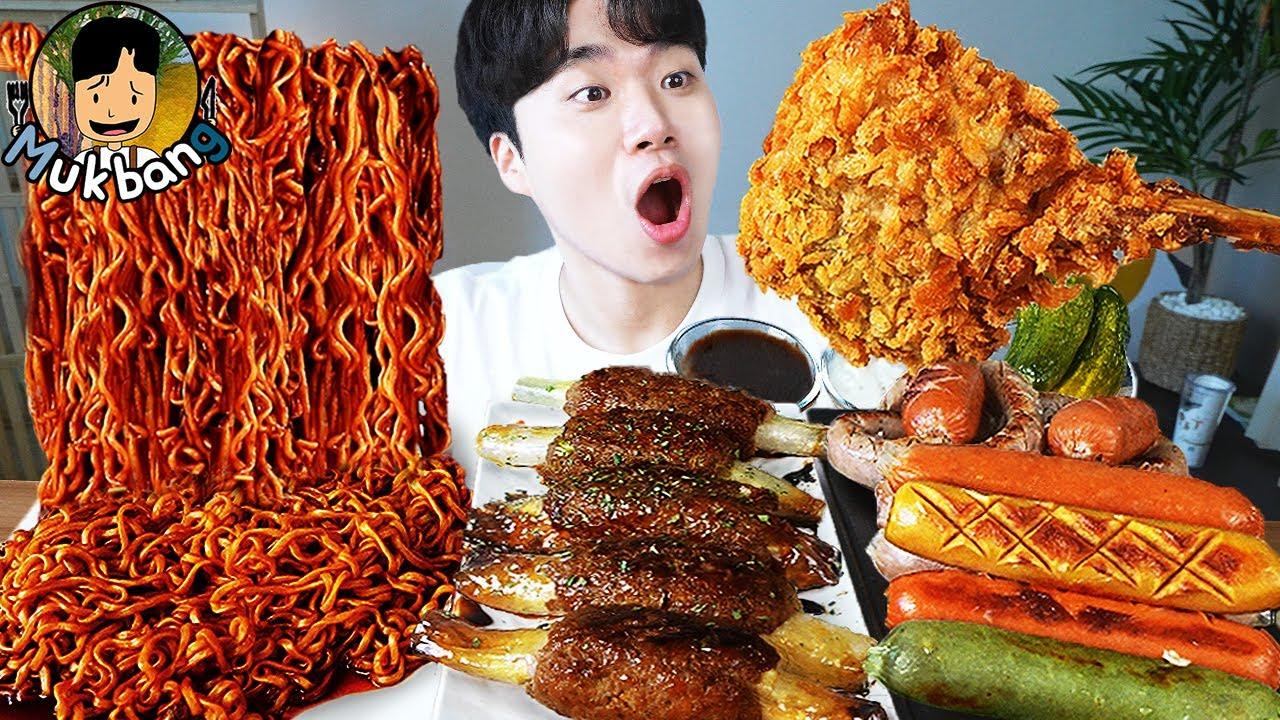 ASMR MUKBANG 짜파게티 & 팽이 버섯 & 소세지 BLACK BEAN NOODLES & ENOKI MUSHROOM & SAUSAGE EATING SOUND!