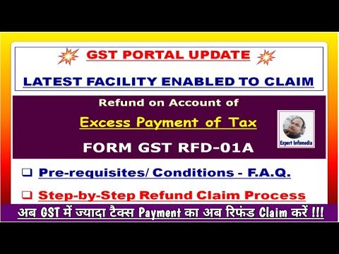 GST Update- Refund Claim Process of Excess Payment|GST RFD-01A|FAQs|Step by Step Procedure हिंदी में