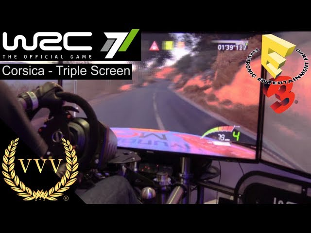 WRC 7 E3 2017 Triple Screen Gameplay - Corsica
