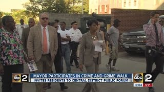 "Baltimore mayor takes ""Crime and Grime"" walk in Central District"