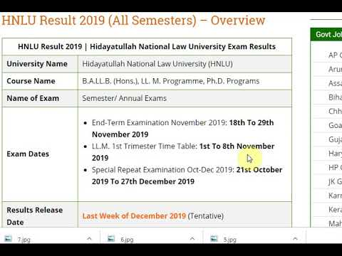Hidayatullah National Law University Result 2019 | HNLU Sem Results