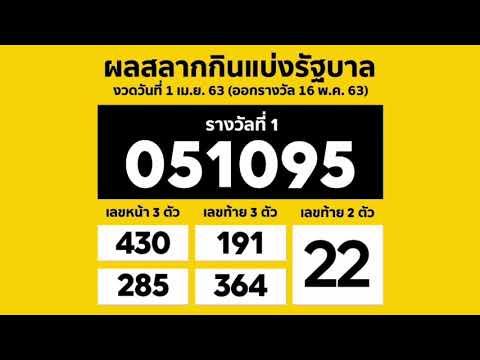ตรวจหวย 16/5/63 ตรวจผลสลากกินแบ่งรัฐบาล งวด 16 พฤษภาคม 2563 ภาพชัด