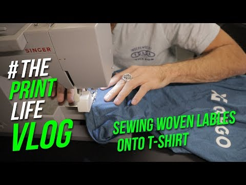 Sewing Woven Labels On To A T Shirt | Screen Printing Business VLog | Cam Earven