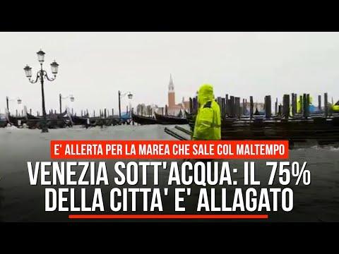 Venezia sott'acqua: il 75% della città è allagato