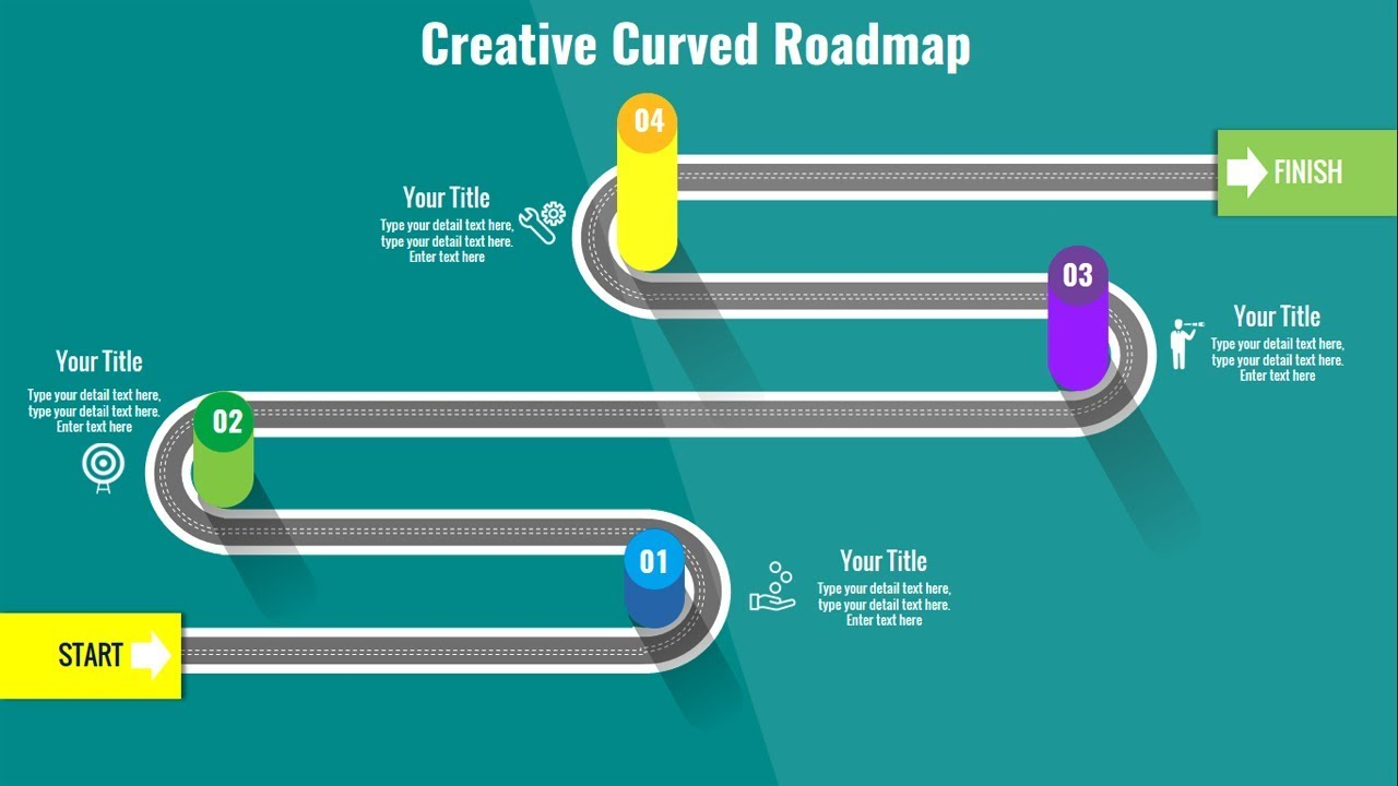 how to create a curved roadmap slide in powerpoint ppt presentation