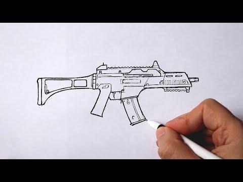 Как нарисовать оружие из игры PUBG | G36C