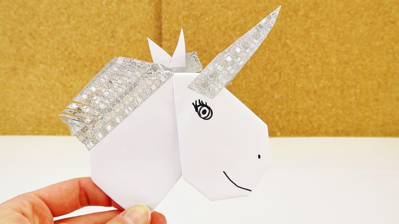 diy einhorn aus origami herz washi tape selber basteln deko oder einladung selber machen. Black Bedroom Furniture Sets. Home Design Ideas