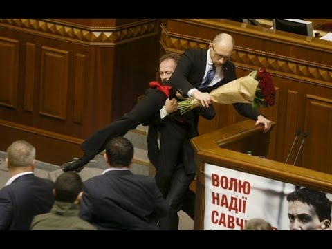 Ukraine parliament brawl! PM Yatsenyuk manhandled by MP