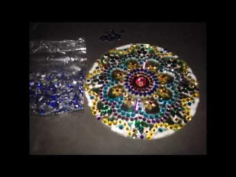 Innovative rangoli art on cd diwali decoration idea cd craft - Download Video Rangoli Design With Kundan Stones On Cd