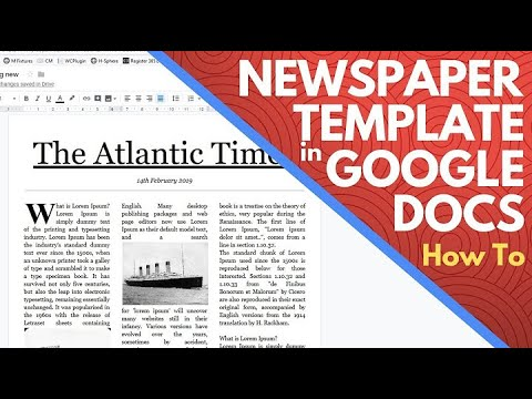 Newspaper templates for Google Docs