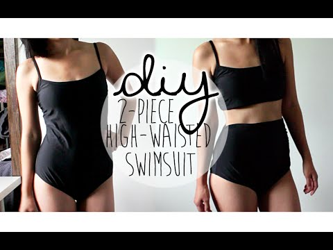 DIY: Upcycle Retro 2-piece High-waisted Swimsuit (NO-SEW ...