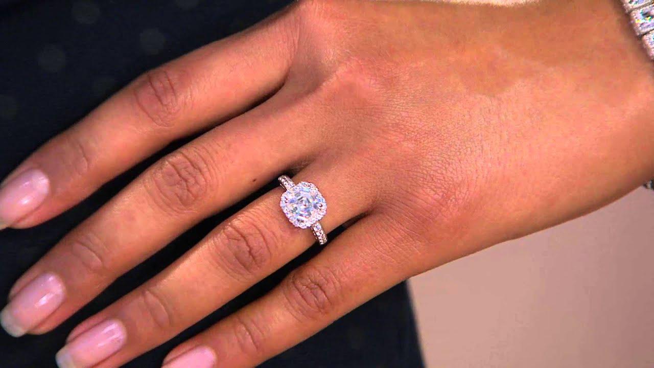 epiphany diamonique 250 cttw asscher halo ring with shawn killinger - Diamonique Wedding Rings