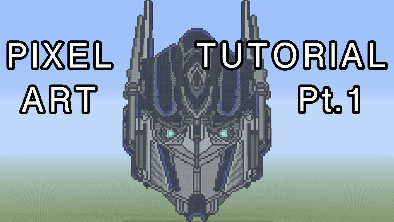 Minecraft Pixel Art Tutorial Optimus Prime Transformers Part 1
