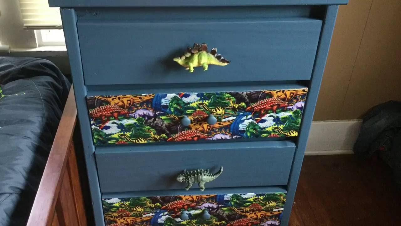 DIY How to  Makeover paint mod podge little boys wood dresser dinosaur fabric  YouTube