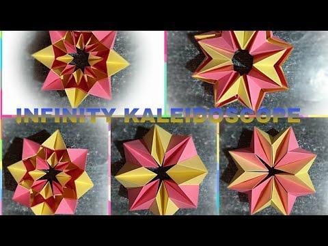 Easy Origami 3D Moving Infinity Kaleidoscope, Transforming Origami Magic Circle