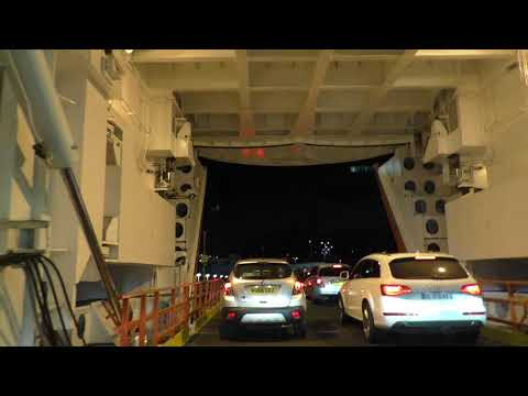 Driving Off Ferry MV Armorique Brittany Ferries Plymouth, England 27th August 2017