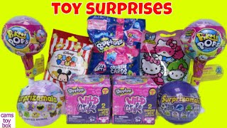 Surprise Toys Pikmi Pops Disney Tsum 9 Surprizamals 6 Shopkins Pet Pods Hello Kitty Kids Fun Toy