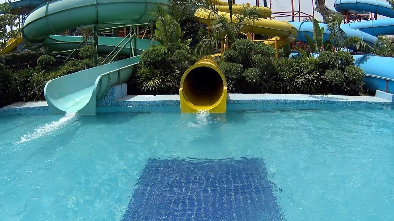 yellow tunnel water slide at appu ghar