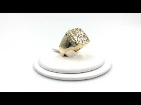 3.32 Carat Mens Diamond and 14k Yellow Gold Ring