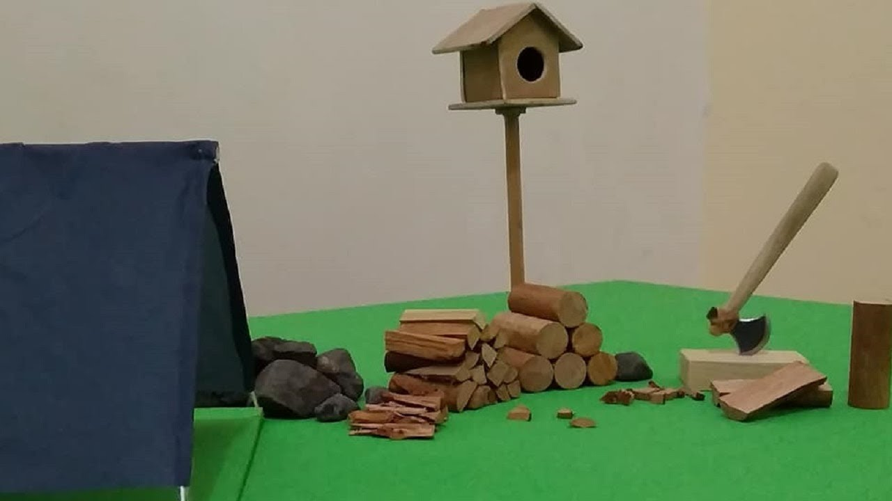 splitting wood with an ax , stop motion coming soon