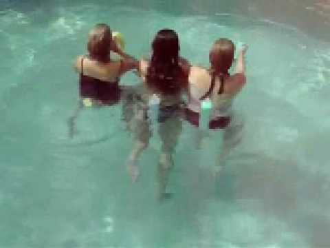 Girl farts in pool