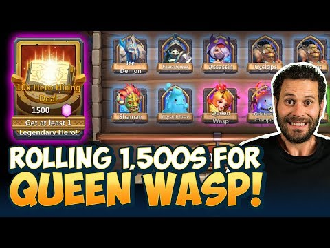 Rolling 1500 Gem Rolls Till We Get Queen Wasp NEW HERO! Castle Clash