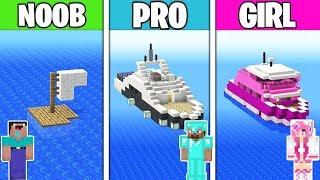 Minecraft Battle: YACHT BUILD CHALLENGE! NOOB vs PRO vs GIRL in Minecraft Animation