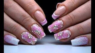Дизайн ногтей цветок и френч. Попробуй повтори этот простой и модный маникюр 2018