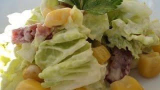 Салат из пекинской капусты с мясом сыром и грибами
