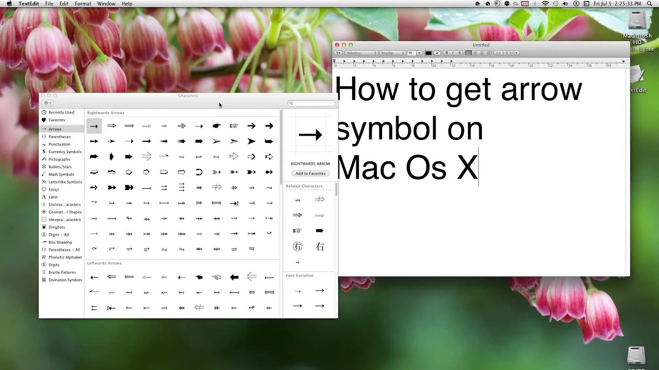 How To Get Arrow Symbol On Mac