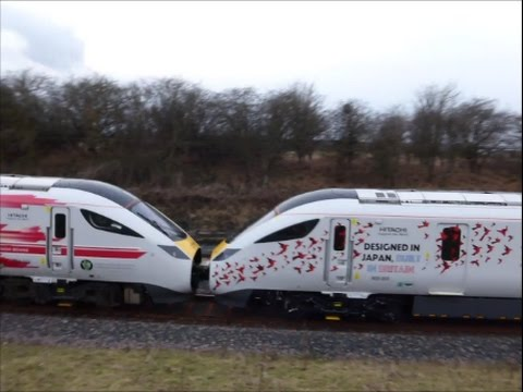 "The ""FIRST"" U.K. Built Class 800 , 800 005 leaving Hitachi Factory 24/2/17"