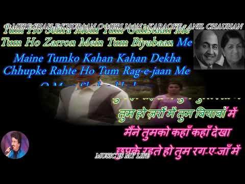 O Mere Shah-e-khubaan O Meri Karaoke With Lyrics Eng. & हिंदी