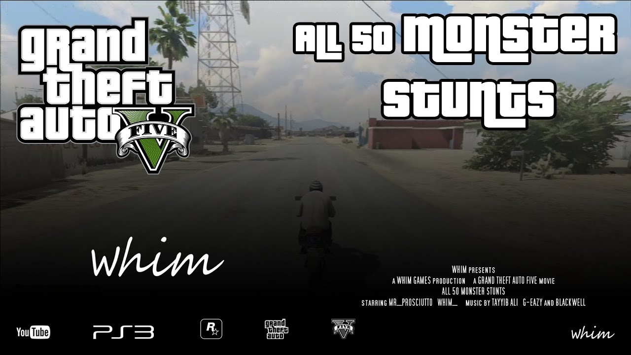 Gta 5 All 50 Monster Stunts Incl Map Whim Games Youtube
