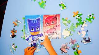 Disney jr PJ Masks jigsaw puzzle solving strategy. How to do a jigsaw puzzle.