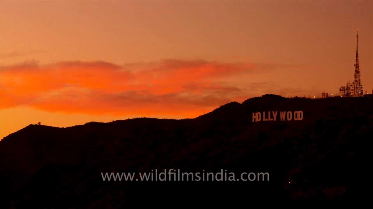 Sunset Over Hollywood Sign In LA Time Lapse
