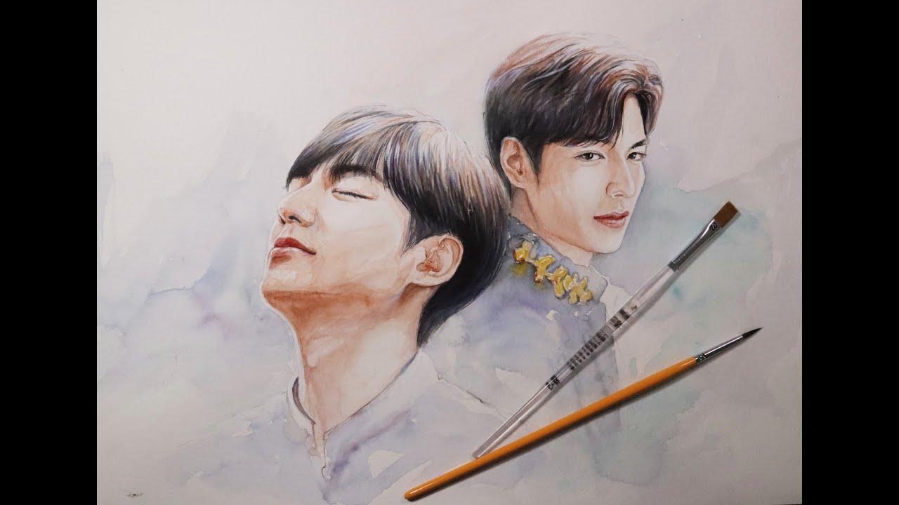 Vẽ Quân Vương Bất Diệt Lee Min Hoo   Lee Min Hoo watercolor painting   THE KING ENTERNAL MONARCH