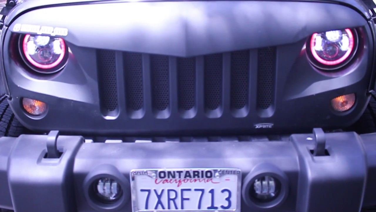hight resolution of xprite 7 90w cree led headlights with rgb halo installation