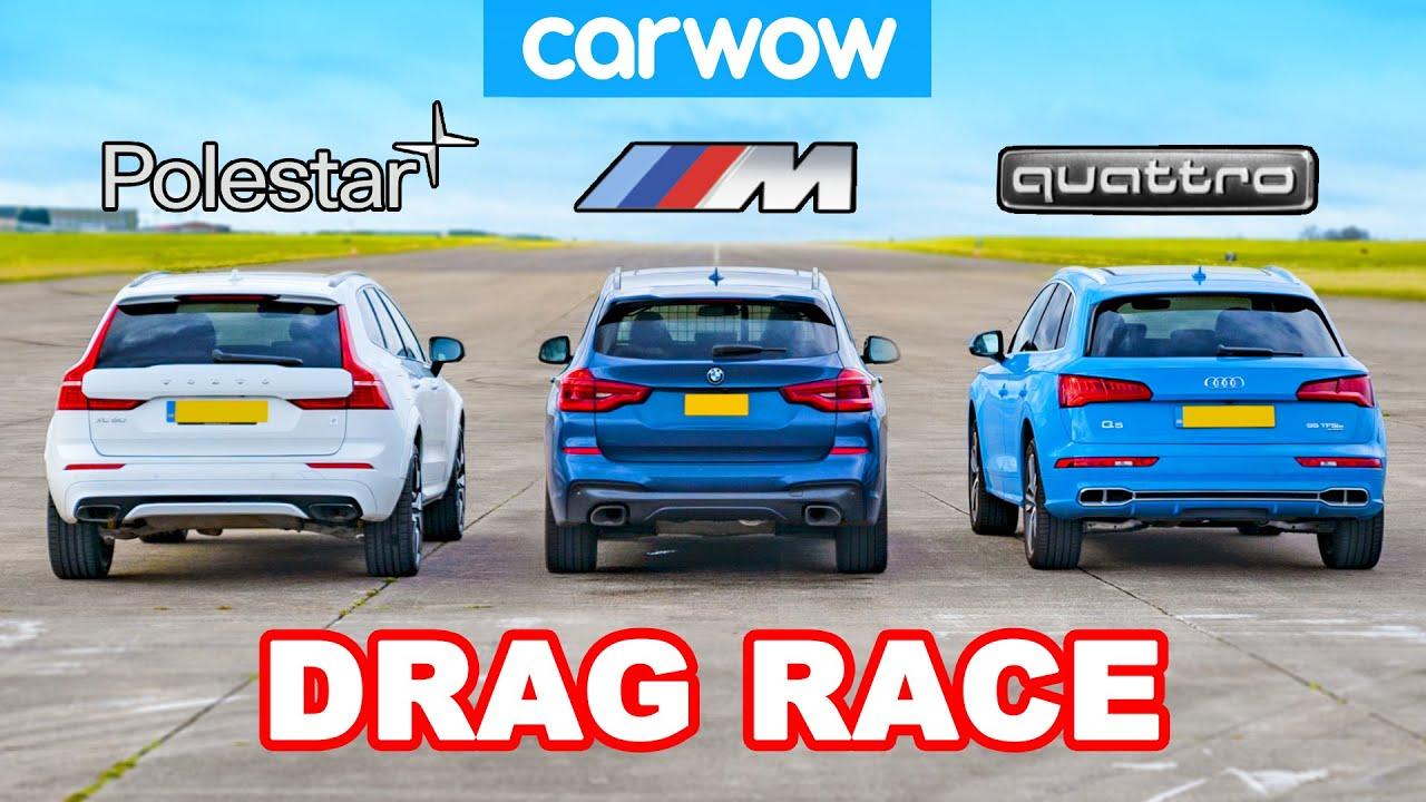 BMW X3 M40i vs Volvo XC60 Polestar vs Audi Q5e: DRAG RACE