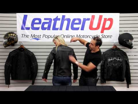 B7065 Xelement 'Multi Vented' Women's Black/Silver Jacket at LeatherUp.com