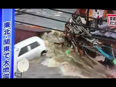 Shocking ! Close-up Rare footage of Chiba Japan getting hit by Tsunami Earthquake (2011)