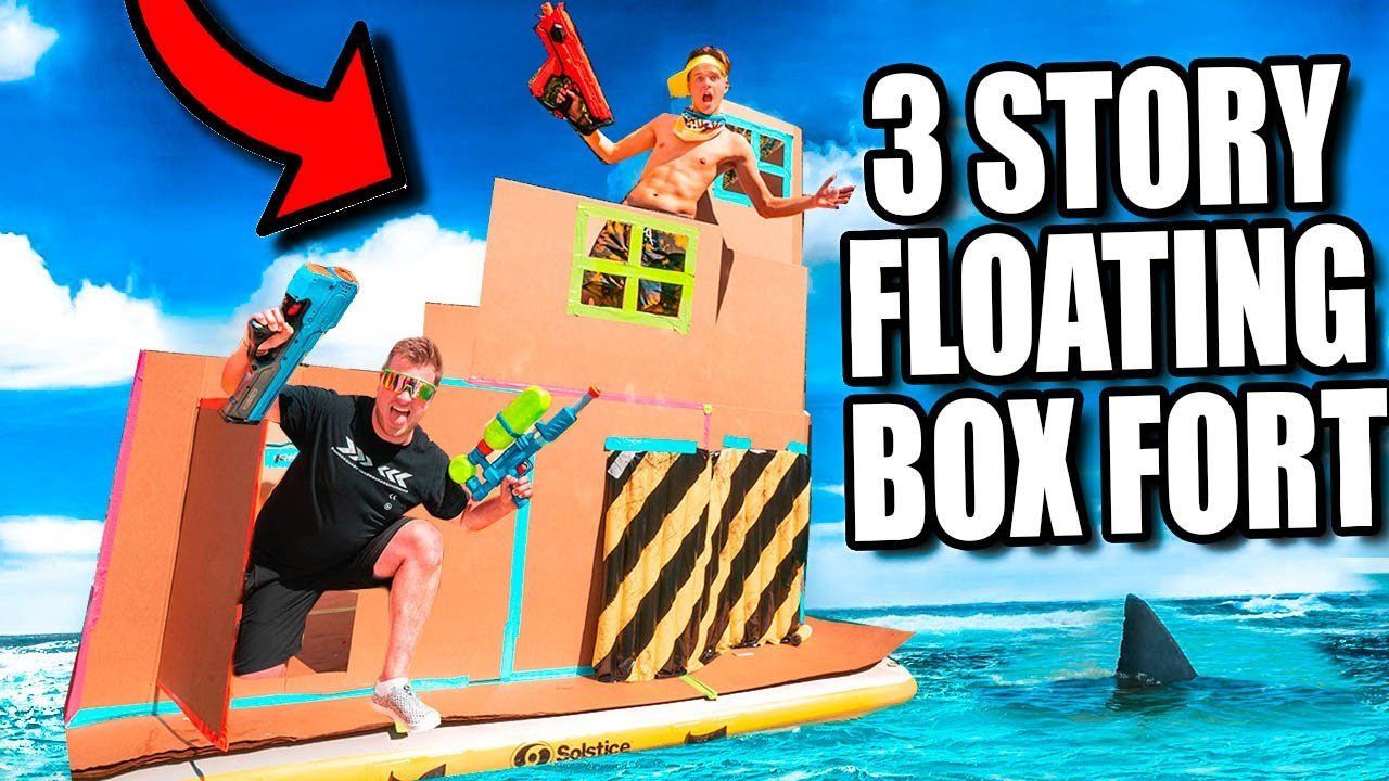 24 Hour 3 Story Floating Box Fort! Will it Float?