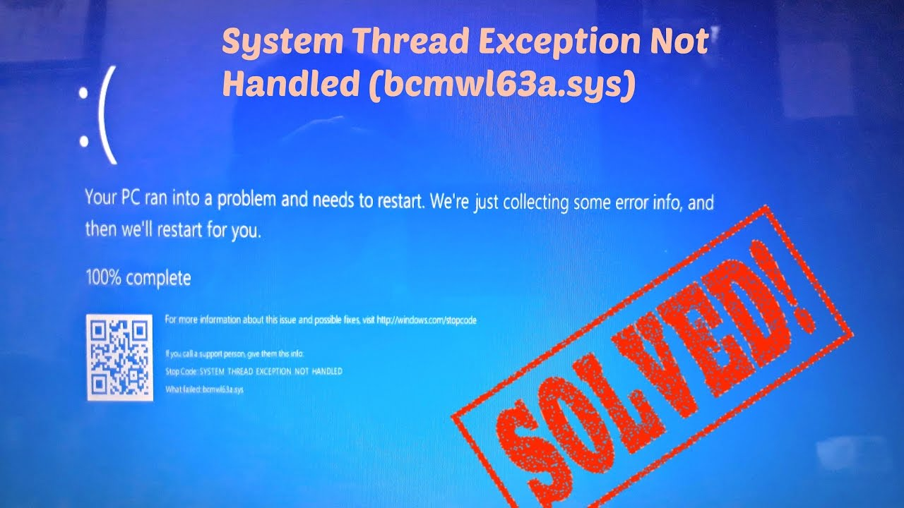 exception not handled windows 10