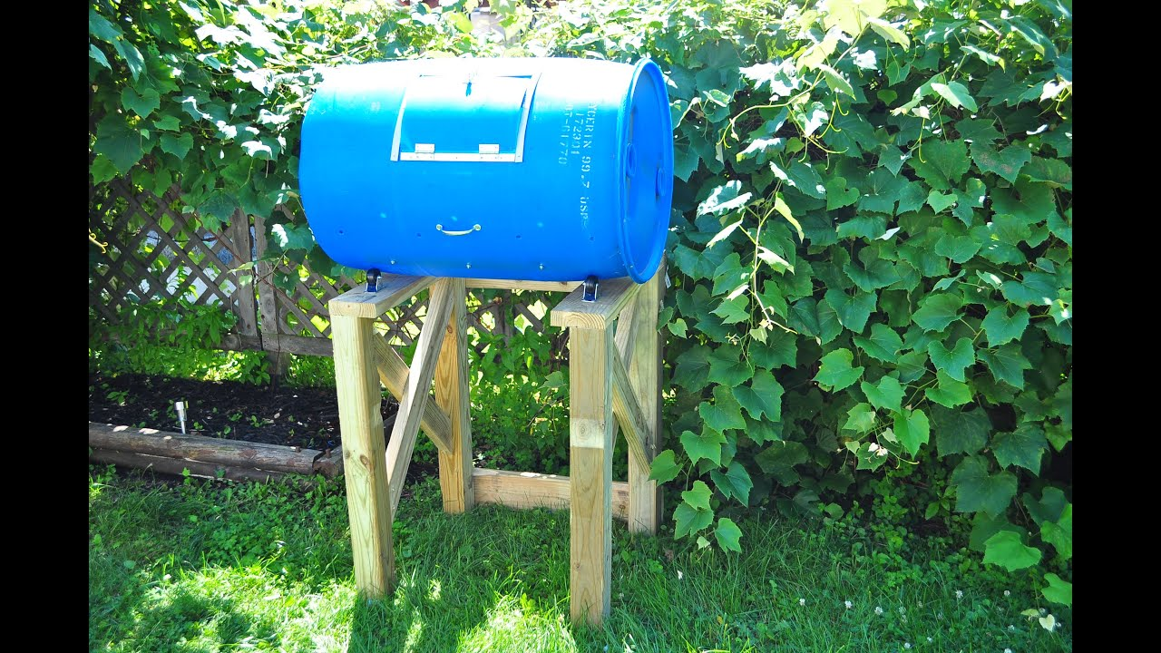 D I Y Plastic Barrel Compost Tumbler Tutorial