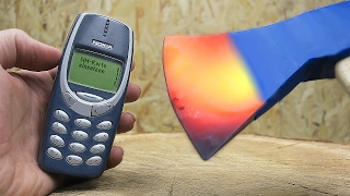 EXPERIMENT Glowing 1000 Degree Axe VS Nokia 3310!
